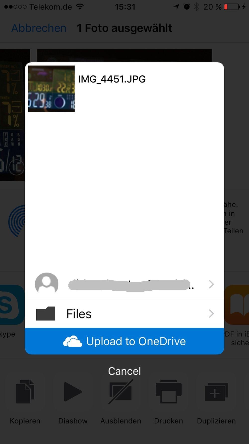 Foto-Chaos unter iOS und mit OneDrive - manuelles hochladen aus Fotos heraus